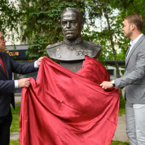 The memorial statue of Marshal Georgy Zhukov was ceremoniously unveiled